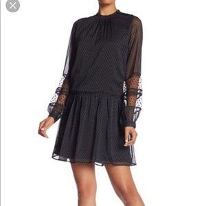NWT Walter Baker Sheer Black Polka Dot Dress Sz S
